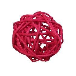 Dekoracyjna kula rattanowa średnica 7 cm kolor czerwony