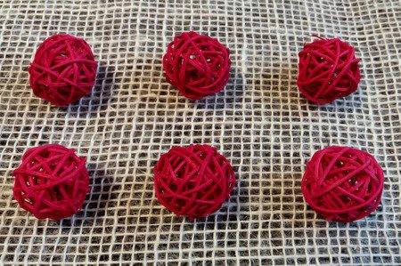 Dekoracyjna kula rattanowa średnica 3cm kolor czerwony 6 szt.