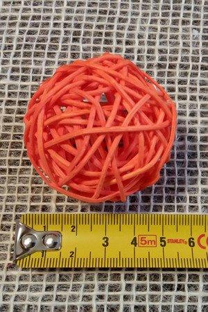 Dekoracyjna kula rattanowa średnica 5 cm kolor pomarańczowy