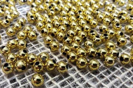 Koraliki błyszczące średnica 6 mm kolor złoty