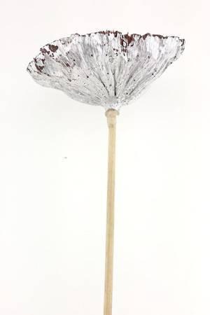 LOTOS SREBRNY Z BROKATEM susz egzotyczny na patyku srebrne dodatki