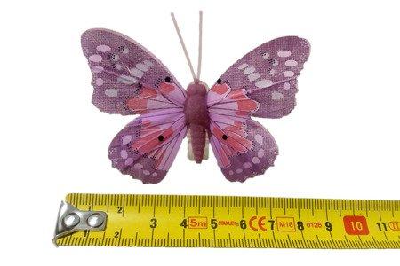 Motyl dekoracyjny na zapince kolor fioletowo-różowy