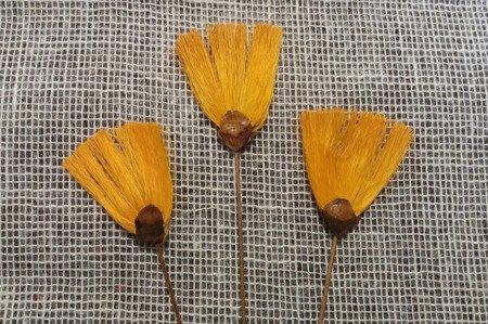Wachlarzyki sizalowe 3 sztuki kolor żóltopomarańczowy